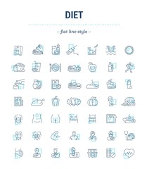 Vector graphic set. Icons in flat, contour, thin, minimal and linear design.Diet. A healthy lifestyle, good nutrition, physical activity, beautiful body.Concept illustration for Web site.Sign, symbol.