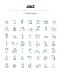 Vector graphic set.Icons in flat, contour, thin, minimal and linear design.Illustration of juice. Glass, cup,bottle and package.Natural, product.Simple isolated concept sign and symbol for Web site.