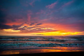 Colorful sunset in the Black Sea, Poti, Georgia