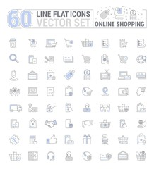 Vector graphic set. Icons in flat, contour,thin, minimal and linear design.Online shopping. Internet shop.Order,purchase, payment.Simple isolated icons.Concept of web site and app.Sign,symbol,element.