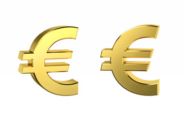 Golden Euro sign in two positions with clipping path