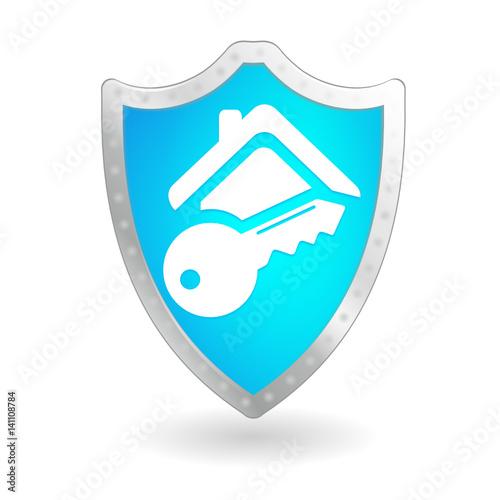 quots233curit233 maison sur bouclier bleuquot stock image and