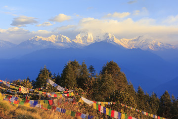 Recess Fitting Buddha Annapurna and Himalaya mountain range with sunrise view from Poonhill, famous trekking destination in Nepal.