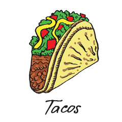 Traditional Mexican Tacos, hand drawn doodle, sketch in pop art style, vector
