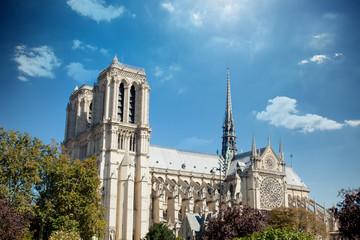 REIMS, FRANCE - September 24, 2013: beautiful view on catholic Cathédrale Notre-Dame de Reims