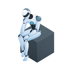 Robot Thinking On Cube Isometric Composition