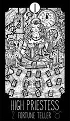 High Priestess. Tarot card Major Arcana.See all collection in my portfolio