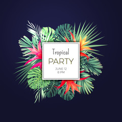 Dark vector tropical background with green palm leaves and guzmania flowers. Exotic summer party flyer design.