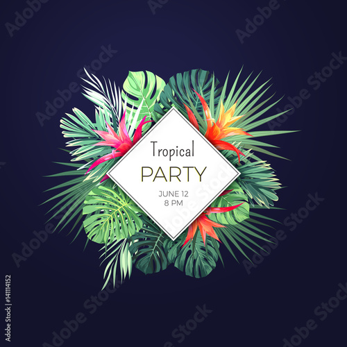 dark vector tropical background with green palm leaves and guzmania
