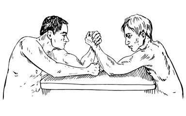 The men at the table are measured force, arm wrestling, hand drawn doodle, sketch in pop art style, vector illustration