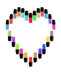 Multicolored bottles of nail polish in the form of heart. Isolated on white