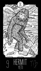 Hermit. Yeti. Tarot card Major Arcana. See all collection in my portfolio