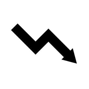 Schwarzes einfaches Symbol -  Verlust - Negativ - Pfeil nach unten