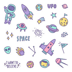 Set of space objects. Vector hand drawn illustration