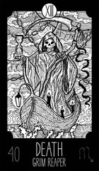 Death. Grim Reaper. Tarot card Major Arcana. See all collection in my portfolio