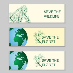 Save the wildlife. Ecological banners
