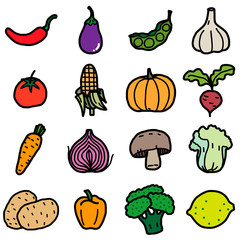 vegetable, icons set / cartoon vector and illustration, hand drawn style, isolated on white background.