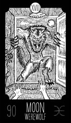 Moon. Werewolf. Tarot card Major Arcana. See all collection in my portfolio