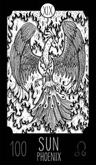 Sun. Phoenix. Tarot card Major Arcana. See all collection in my portfolio