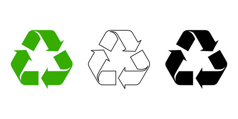 Set of black and green recycle symbols isolated on a white background.