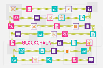 Blockchain and database concept. The block of data floating across with chain and wording.