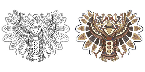 Ethnic eagle in the graphic style. Vector illustration for a coloring design on a white background.