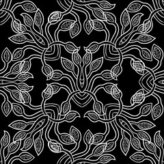 Seamless pattern with the plant. Vector illustration for design fabric or wallpaper.