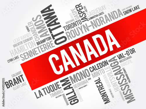 list of cities and towns in canada word cloud collage business and travel concept background. Black Bedroom Furniture Sets. Home Design Ideas