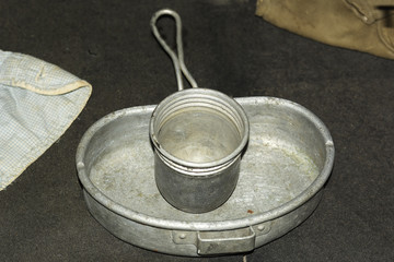 Old prisoners aluminum cup and plate