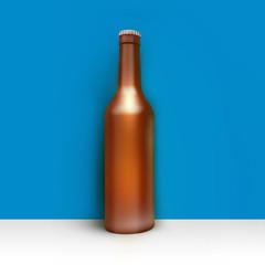 Clean bottle of beer in corner room or studio. Studio illustration. Front view. 3D render.
