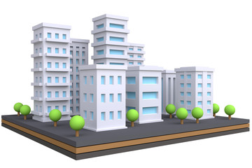 Cartoon cityscape in funny cute style. Isolate city area with modern skyscrapers and buildings. 3d render.