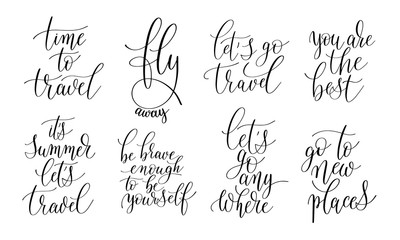 set of 8 hand written lettering positive quotes about life and t