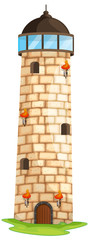 Brick tower with torches and windows