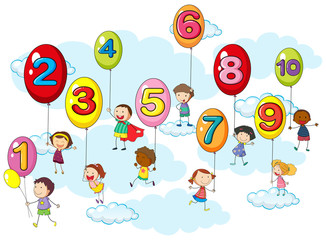 Counting numbers with kids on balloons