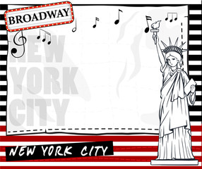 Paper template with New York city background