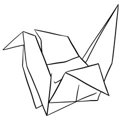 Doodle paper crane on white background