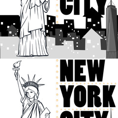 Seamless background with buildings and statue of New York