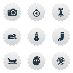 Vector Illustration Set Of Simple New Year Icons. Elements Snow, Decoration, Tree Toy And Other Synonyms Christmas, Transport And Character.