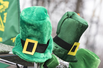 Traditional Green St. Patrick's Day Hats With Yellow Buckle at a market