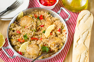 "Chicken and rice with vegetables ""Arroz con pollo"""