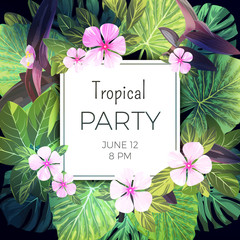 Bright green vector tropical background with pink and purple flowers. Exotic summer party flyer design.