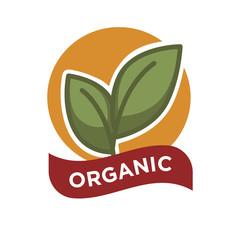 Organic food fresh from farm label vector illustration. Green leaves