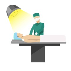 Medical operation process illustration with doctor and patient