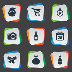 Vector Illustration Set Of Simple Celebration Icons. Elements Basket, Bag, Drink Bottle And Other Synonyms Cart, Basket And Camera.