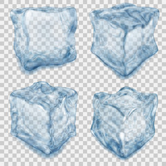 Set of transparent light blue ice cube. Transparency only in vector file