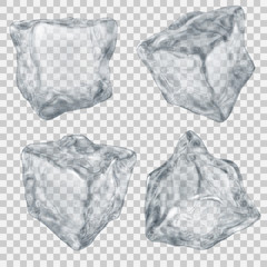 Set of transparent gray ice cube. Transparency only in vector file