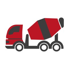 Bulk cement transport unit icon flat art design on white