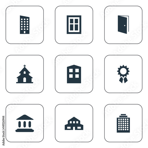 Vector illustration set of simple architecture icons for Floor synonym