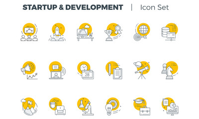 Start up and Development Vector icon set Wall mural