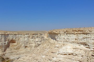 National Park Ein Ovdat - Rocky Canyon in the Negev Desert of Israel.